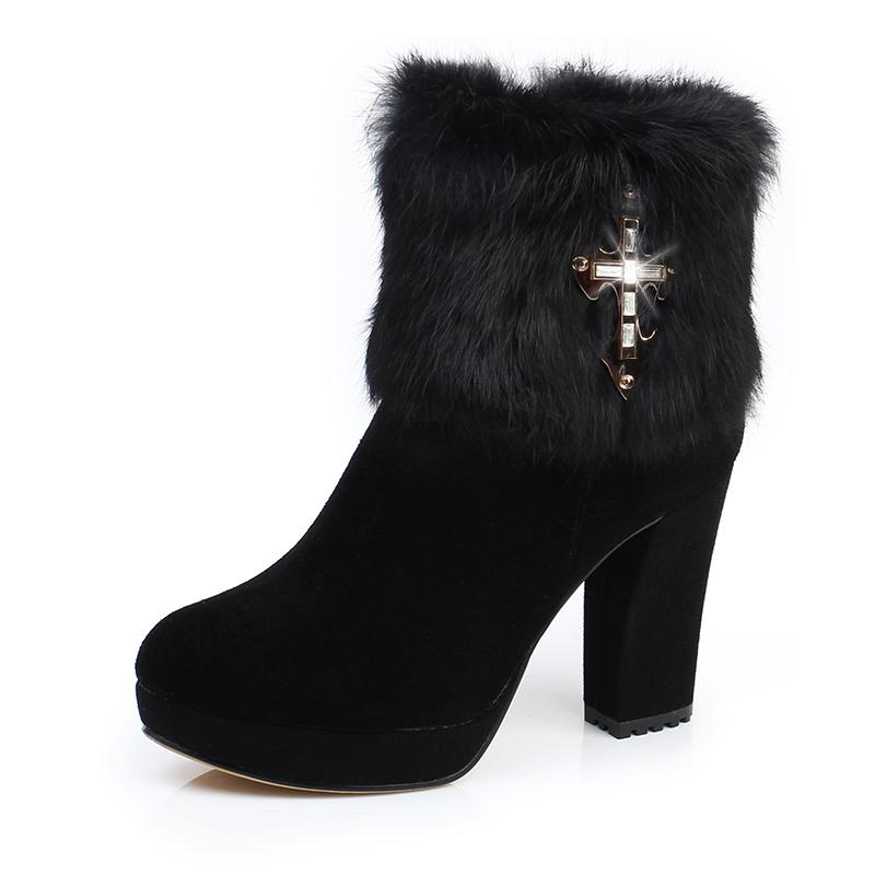 饶客 新款/真皮女靴2013新款兔毛短靴 女棉靴 女鞋女棉鞋高跟防水台靴子