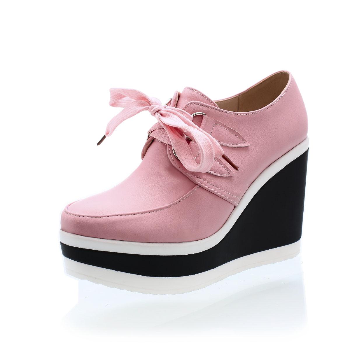 饶客/韩版甜美春季新品高跟坡跟系带单鞋防水台白色鞋子女鞋坡跟鞋