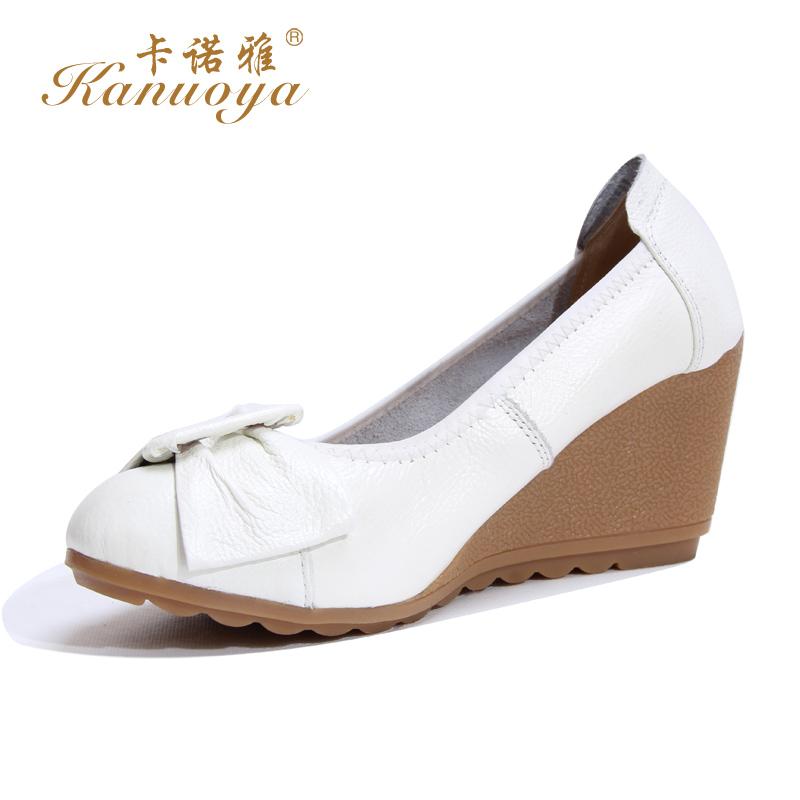 卡诺/卡诺雅2014春款坡跟高跟女单鞋韩版甜美职业真皮女鞋工作鞋