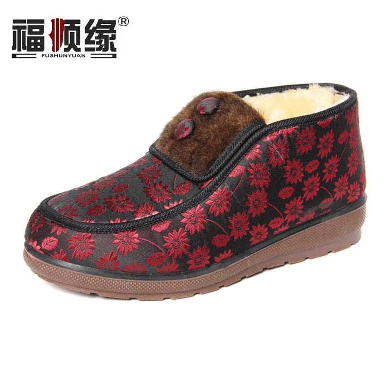 女鞋 布鞋/福顺缘正品老北京布鞋日常休闲女棉鞋宽松加厚女鞋保暖妈妈布鞋