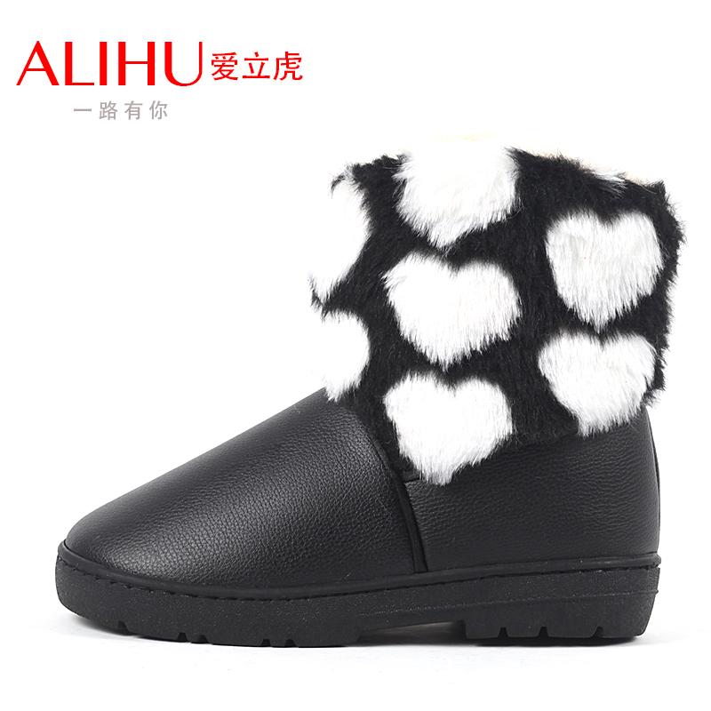 女鞋 爱心 保暖/防水皮爱心保暖鞋棉鞋短靴女短筒雪地靴保暖鞋女鞋冬季清仓