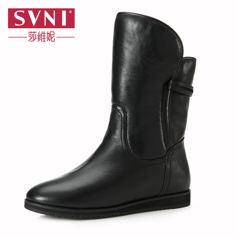新款 女鞋 维妮/莎维妮女鞋2013新款皮毛一体女靴 真皮平跟中筒靴 雪地靴898/55