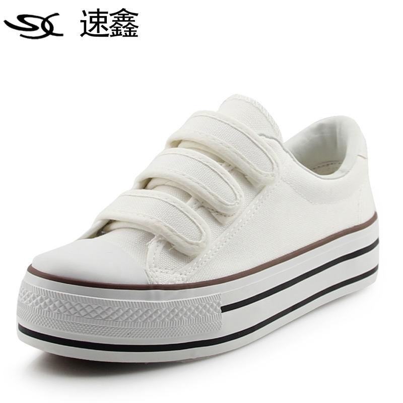 女鞋 帆布鞋/低帮魔术贴帆布鞋女韩版潮板鞋懒人鞋厚底松糕鞋 透气甜美女鞋