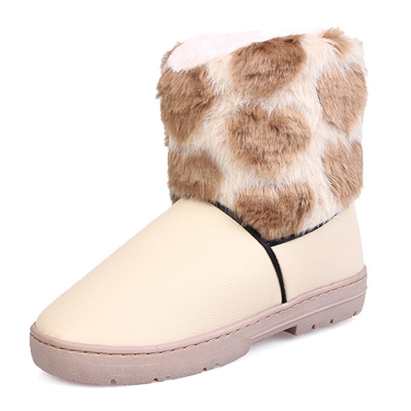 新款 雪地靴/新款雪地靴 女 保暖棉鞋靴防滑 中筒靴子女鞋PU皮防水面平跟