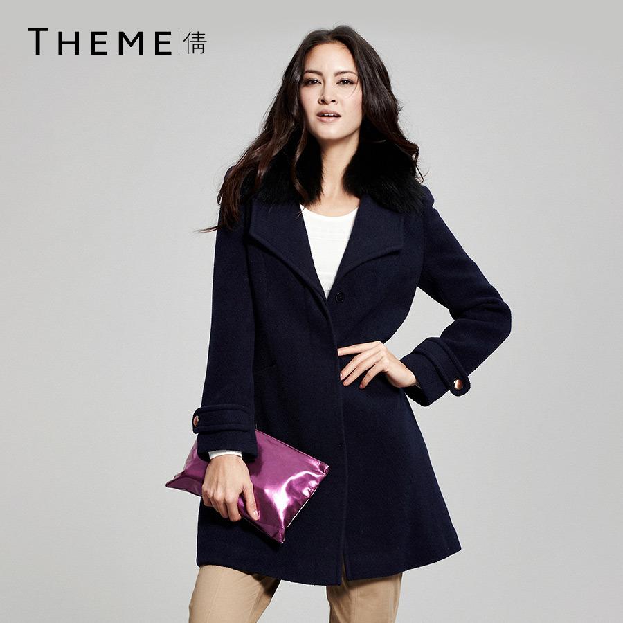毛領呢/Theme 專櫃正品 女裝收腰毛呢外套 中長款修身毛領呢大衣